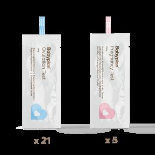 Testsæt med 21 ægløsningstest strip og 5 graviditetstest strip